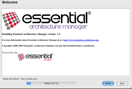 Essential Install Welcome Panel